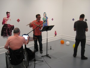 Soundcheck for Piling Sand - Piling Stone IV by André Cormier at Galerie sans nom, Moncton.