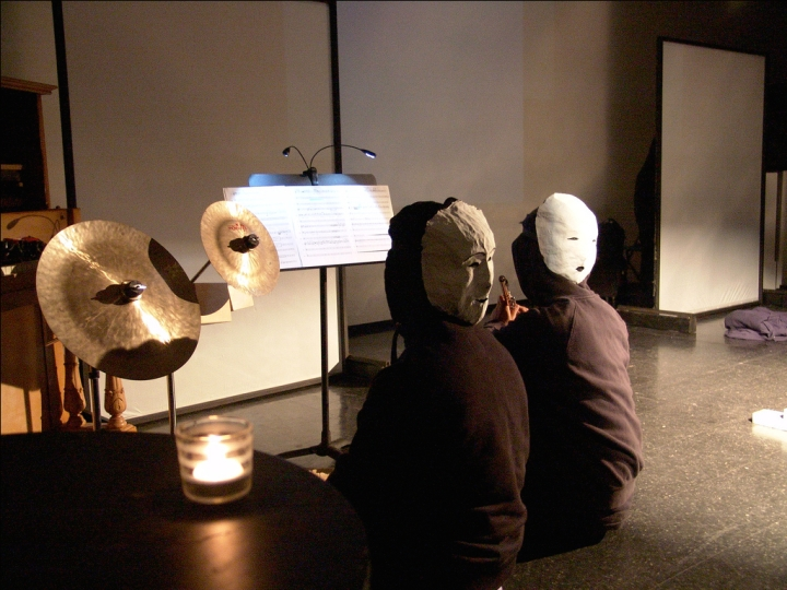 "Performing Michael Mori's ""Nothing is Free"" at the Powell Street Festival's Spatial Poetics IX in 2010 (with Iman Habibi)."